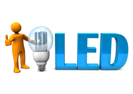 electrician with tools: Orange cartoon character with blue text LED and LED-Bulb. White background.