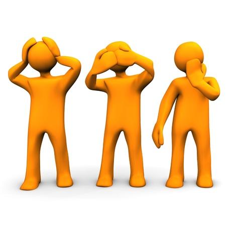 Oranje stripfiguren hoort, ziet en zegt niets. Stockfoto