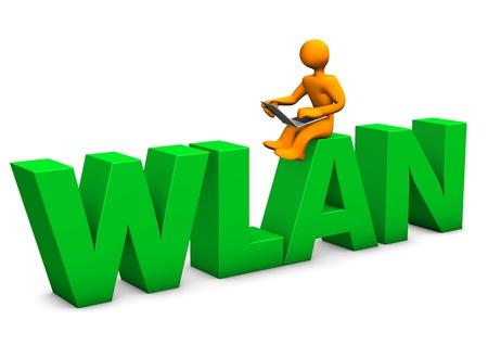 wlan: Orange cartoon character with laptop and big text WLAN Stock Photo