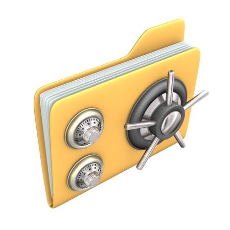 encryption icon: Safety yellow file on the white background. Stock Photo