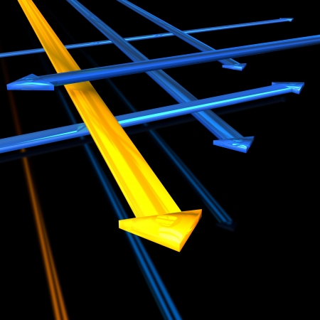 replacing: Direction arrows in blue and yellow colors. White background. Stock Photo