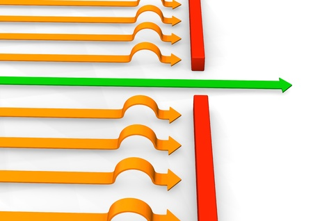 Green and orange arrows with red stones on the white background. Stock Photo - 17460580