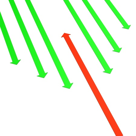 bucks: Green arrows and one red arrow on the white background. Stock Photo