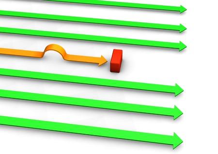 Orange arrow has a wrong way. White background. Stock Photo - 17460602
