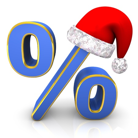 Blue percent symbol with santa cap  White background  Stock Photo - 17460612