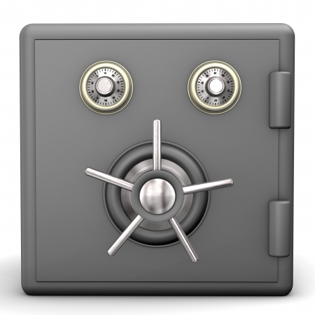 Locked grey safe on the white background  photo
