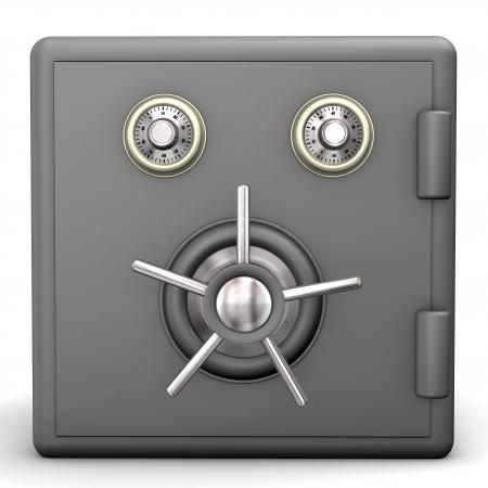 Locked grey safe on the white background Stock Photo - 17460603