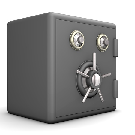 bank vault: Locked grey safe on the white background  Stock Photo