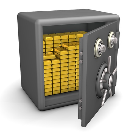 Opened safe with gold on the white background  photo
