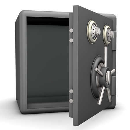 safety box: Opened grey safe on the white background