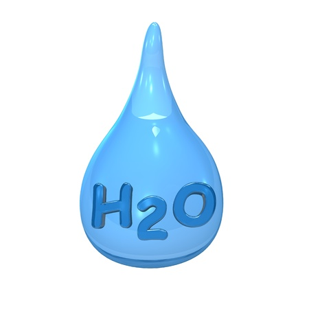 lifeblood: Blue water drop with text H2O on the white background  Stock Photo