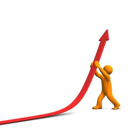 profits chart: Orange cartoon character with red success arrow. Stock Photo