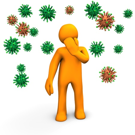 flu: Orange cartoon character have a flu infection. Stock Photo