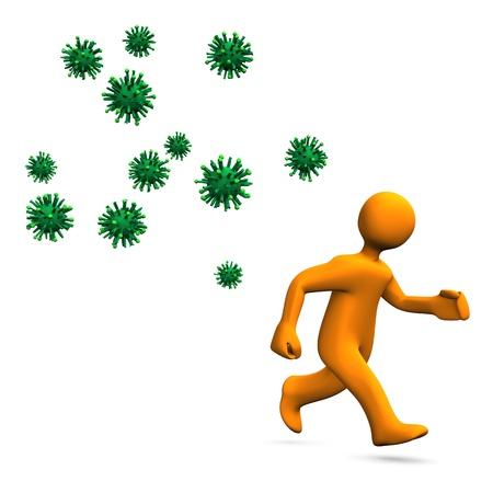 runs: Orange cartoon character runs away. Virus hazard.
