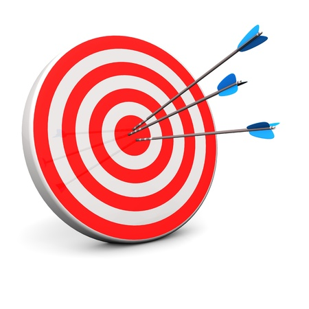 target market: Red target with 3 arrows in the bullseye  Stock Photo