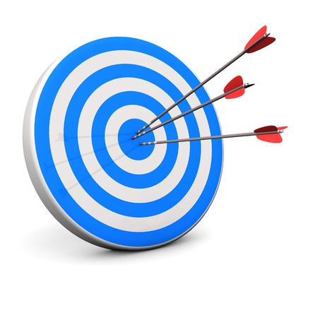 Blue target with 3 arrows in the bullseye  photo