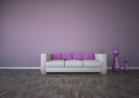 dwell: Apartment with purple interior design with sofa and parquet