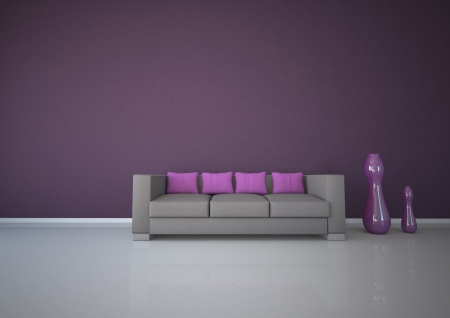 dwell: Apartment with purple interior design with sofa  Stock Photo