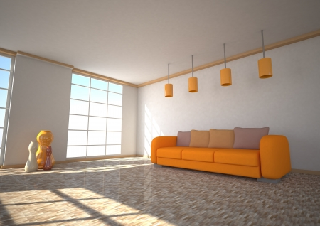 dwell: The room with windows, sunlight and orange couch  Stock Photo