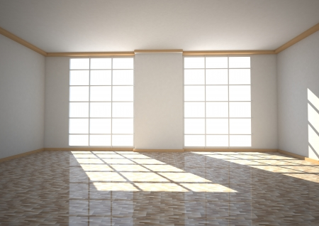 dwell: Empty room with two windows, sun light and parquet