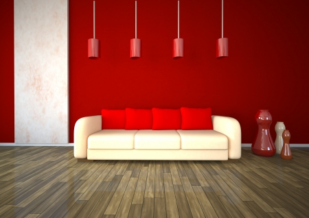 dwell: Red room with white sofa, marble and parquet