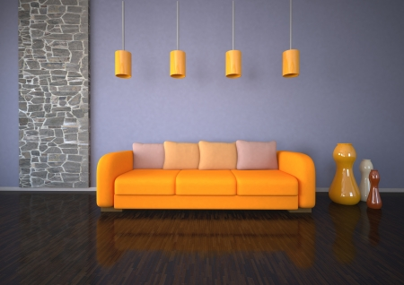 dwell: The living room with orange sofa, parquet and stonewall  Stock Photo