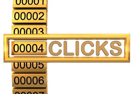 Golden counter for cklicks on the white background. photo