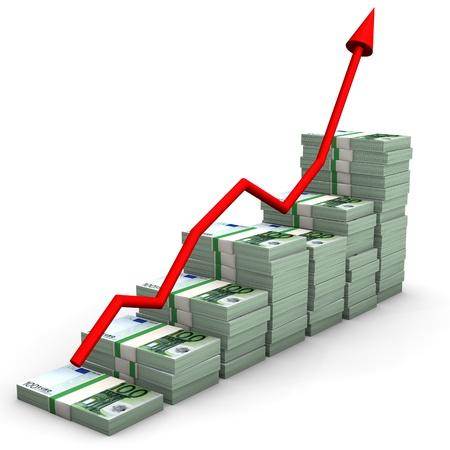dinero euros: El gráfico de dinero, billetes de euro, con la flecha roja.