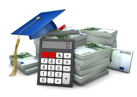 Graduation cap with hundred euro notes and calculator. Stock Photo - 17726577