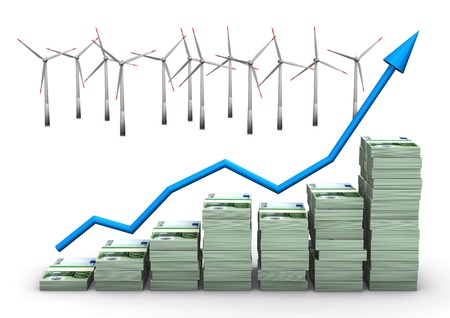 wad: Money chart with wind turbines. White background.