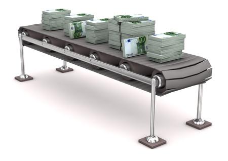 cinta transportadora: L�nea de montaje con 100 billetes de la moneda europea.