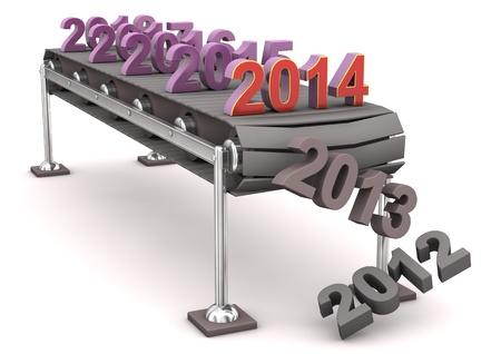 lopende band: Assemblage lijn met de jaren nummer, 2014. Witte achtergrond.