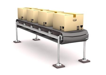 asamblea: L�nea de cajas de cart�n en el fondo blanco.