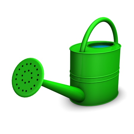 nurseryman: Green watering can on the white background.