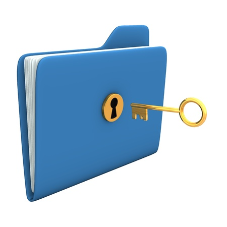 Blue folder with golden key. White background. photo