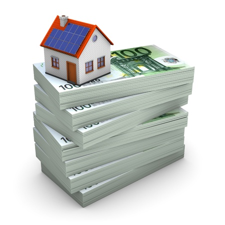 bank notes: A house with solar panels on the hundred euro notes. White background. Stock Photo