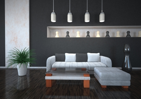 marble stone: Interior design in black and white colors with couch and plant.