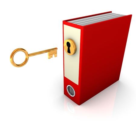 Red folder with golden key. White background. photo