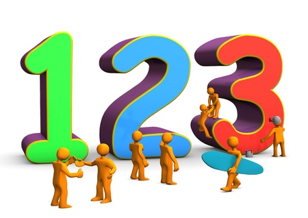 Colorful numbers 123 with orange cartoon characters. White background. photo