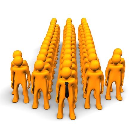 principal: Orange cartoon characters in the symbol of the arrow. Stock Photo