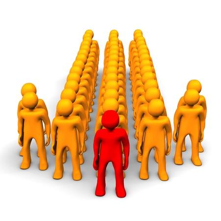 Orange cartoon characters in the symbol of the arrow. Stock Photo