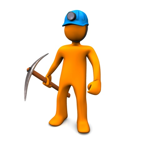 Los characers dibujos animados naranjas como hombre minería. Foto de archivo