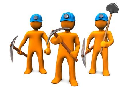 Trois characers bande dessinée d'orange que les hommes minières.