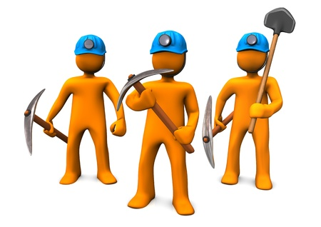orange cartoon: Three orange cartoon characers as mining men.