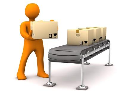 lopende band: Oranje stripfiguur met karton met assemblagelijn. Witte achtergrond.