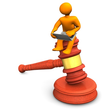 Orange cartoon character with notebook and judge hammer. Stock Photo - 17726557