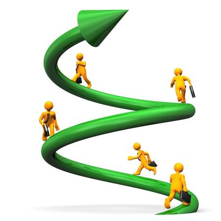 ascend: Orange cartoon characters runs on the green helix.
