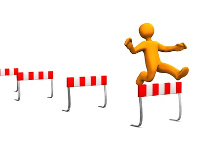 obstacles: Orange cartoon characer runs a steeplechase. Stock Photo