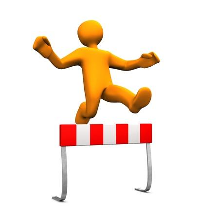 sprung: Orange cartoon characer runs a steeplechase. Stock Photo