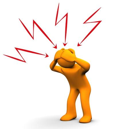 オレンジ色の漫画のキャラクターは頭痛を持っています。白い背景。